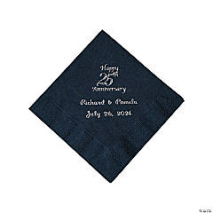 Black 25th Anniversary Personalized Napkins with Silver Foil - Beverage