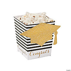 Black & Gold Grad Popcorn Boxes
