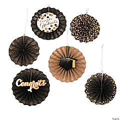Black & Gold Graduation Hanging Fans