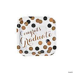 Black & Gold Graduation Paper Dessert Plates