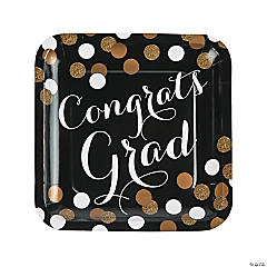 Black & Gold Graduation Square Paper Dinner Plates
