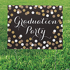 Black & Gold Graduation Yard Sign