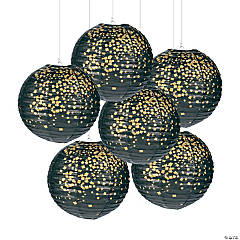 Black & Gold Patterned Hanging Paper Lanterns