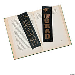 "Black & Gold ""Top Grad"" Ribbons"