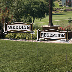 Black & Gold Wedding Directional Yard Signs