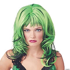 Black & Green Hard Rockin Witch Wig