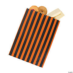 Black & Orange Striped Treat Bags
