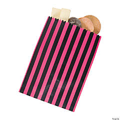 Black & Pink Striped Treat Bags