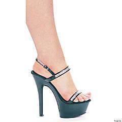 Black & Rhinestone Diamond High Heel Shoes