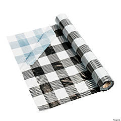 Black & White Buffalo Plaid Plastic Tablecloth Roll