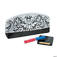 Black & White Damask Cosmetic Bag