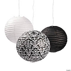 Black & White Damask Paper Lanterns