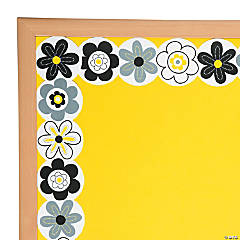 Black & White Flowers Bulletin Board Border