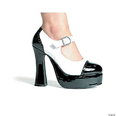 Black & White High Heel Saddle Shoes for Women
