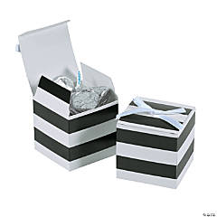 Black & White Stripe Favor Boxes with Bow