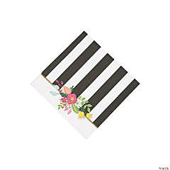 Black & White Striped Bridal Shower Beverage Napkins