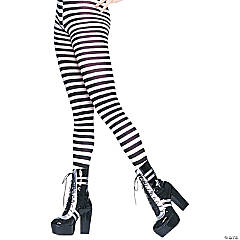 Black & White Striped Plus-Size Tights