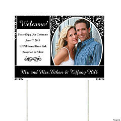 Black & White Wedding Custom Photo Yard Sign