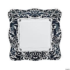 Black & White Wedding Paper Dinner Plates