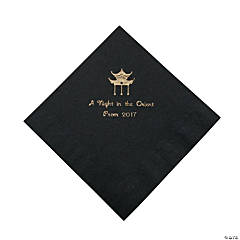 Black Asian Personalized Napkins with Gold Foil - Luncheon