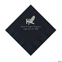 Black Beach Chair Personalized Napkins with Silver Foil - Luncheon