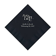 Black Best Day Ever Personalized Napkins with Silver Foil - Luncheon