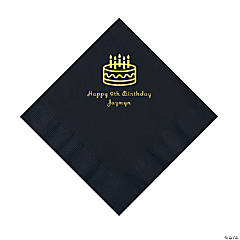 Black Birthday Cake Personalized Napkins - Luncheon