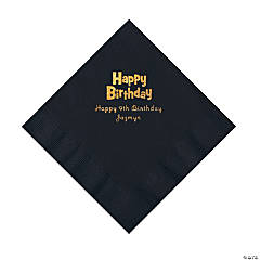 Black Birthday Personalized Napkins with Gold Foil - Luncheon