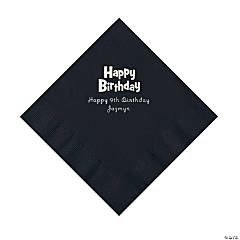 Black Birthday Personalized Napkins with Silver Foil - Luncheon