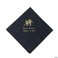 Black Champagne Personalized Luncheon Napkins with Gold Print