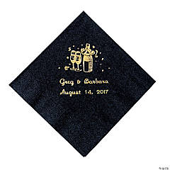 Black Champagne Personalized Napkins with Gold Foil - Beverage