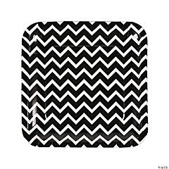 Black Chevron Paper Dinner Plates