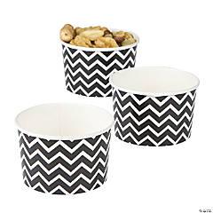Black Chevron Snack Paper Bowls