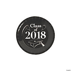 Black Class of 2018 Grad Party Dessert Paper Plates