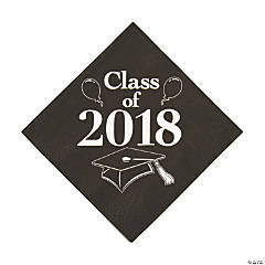 Black Class of 2018 Grad Party Luncheon Napkins