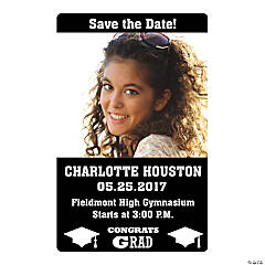 Black Congrats Grad Custom Photo Magnets
