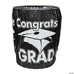 Black Congrats Grad Graduation Plastic Trash Can Cover