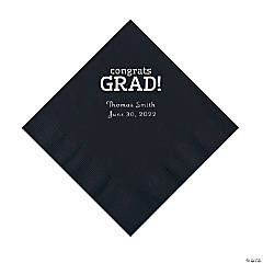 Black Congrats Grad Personalized Napkins with Silver Foil - Luncheon
