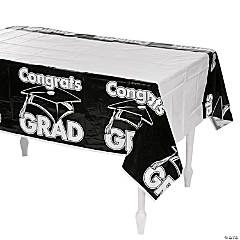 Black Congrats Grad Plastic Tablecloth
