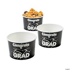 Black Congrats Grad Snack Bowls