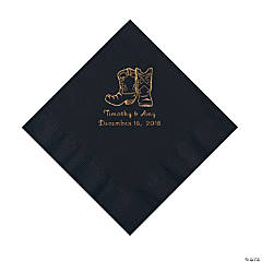 Black Cowboy Boots Personalized Napkins with Gold Foil - Luncheon