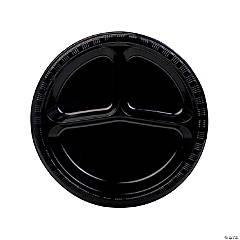 Black Divided Plastic Dinner Plates
