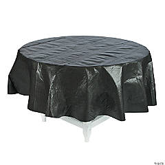 Black Flannel Round Tablecloth