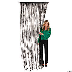 Black Fringe Door Curtain