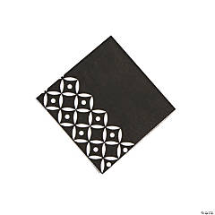 Black Geometric Beverage Paper Napkins