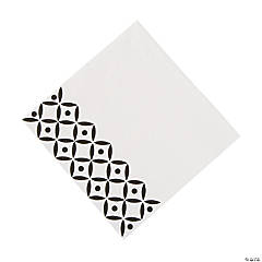 Black Geometric Luncheon Paper Napkins