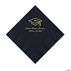Black Grad Mortarboard Personalized Napkins with Gold Foil – Luncheon