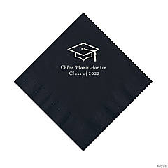 Black Grad Mortarboard Personalized Napkins with Silver Foil – Luncheon