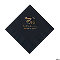 Black Happy Ever After Personalized Napkins with Gold Foil - Luncheon