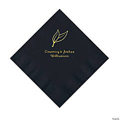Black Heart Leaf Personalized Napkins with Gold Foil - Luncheon